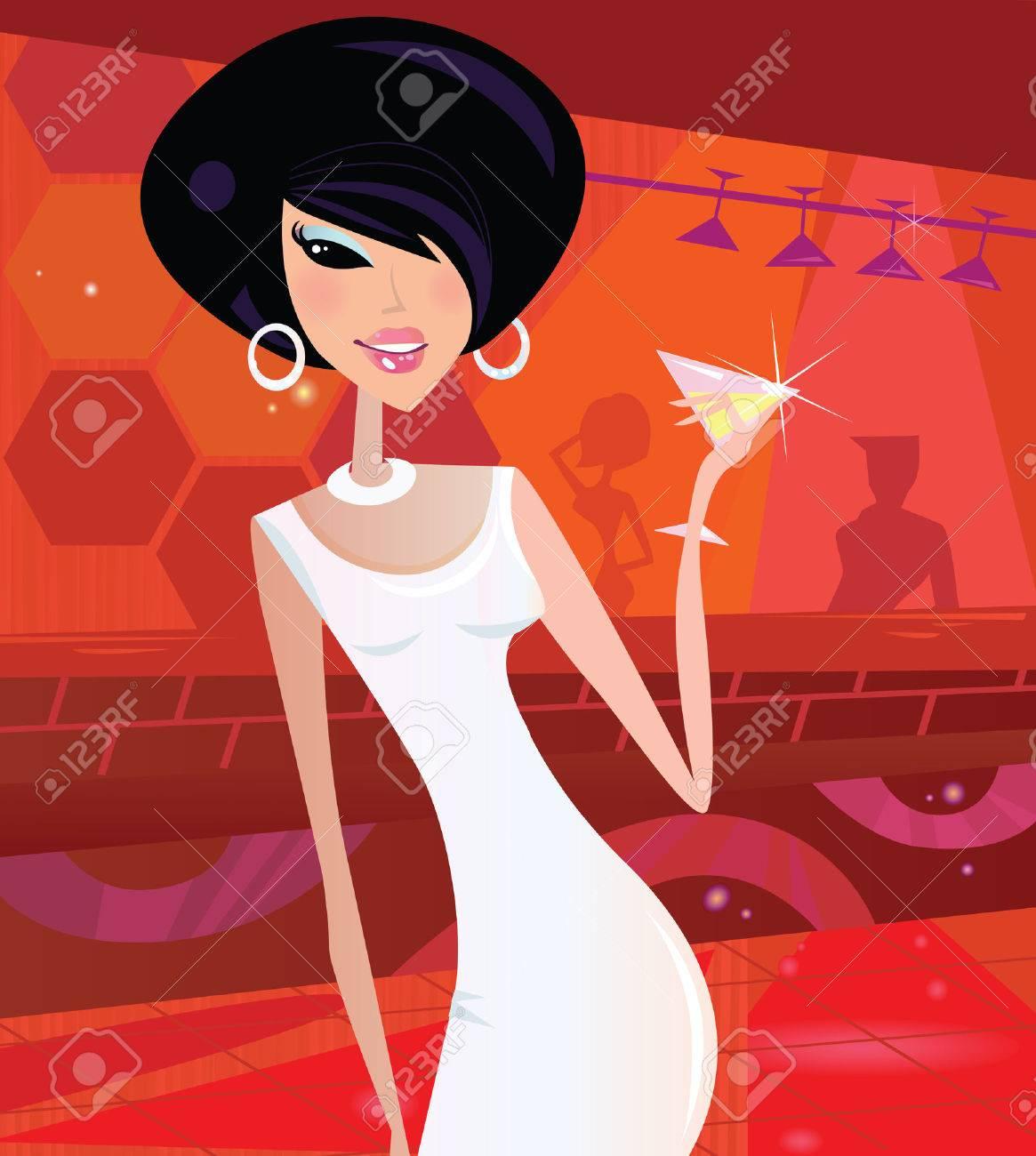Sexy retro woman in night club. Queen of the disco! Vector Illustration in retro style. Stock Vector - 6124996