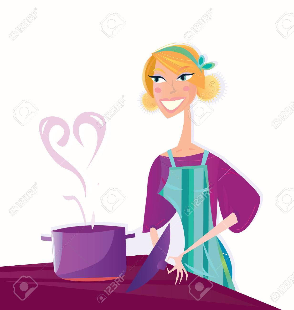 Cooking with love. Woman is cooking sweet valentines food. Stock Vector - 6367546