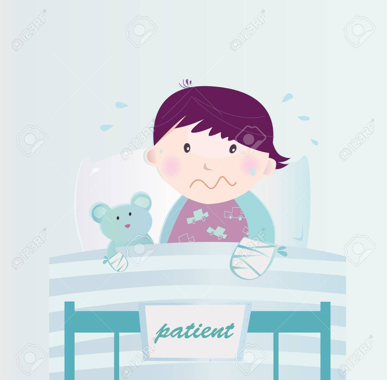 Ill child with broken hand in the hospital. Cute small child lying in the hospital bed with illness. Vector cartoon Illustration of child with broken hand. Stock Vector - 6444723