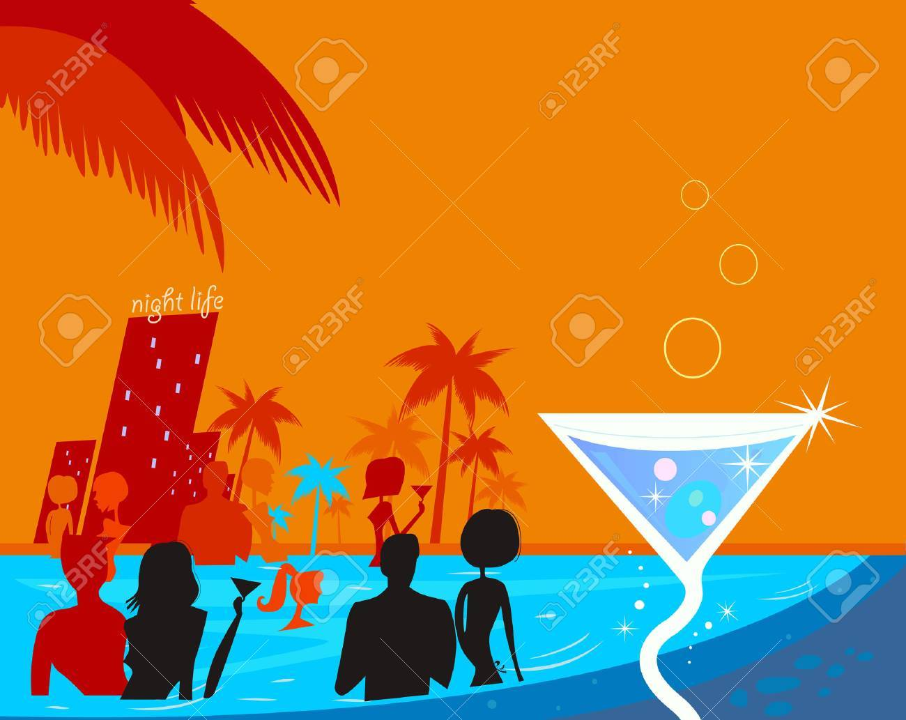 Water night party: People in pool & fresh Martini drink. Beach party people in night pool. Vector illustration in retro style. Beautiful blue - red vibrant colors! Stock Vector - 6478933