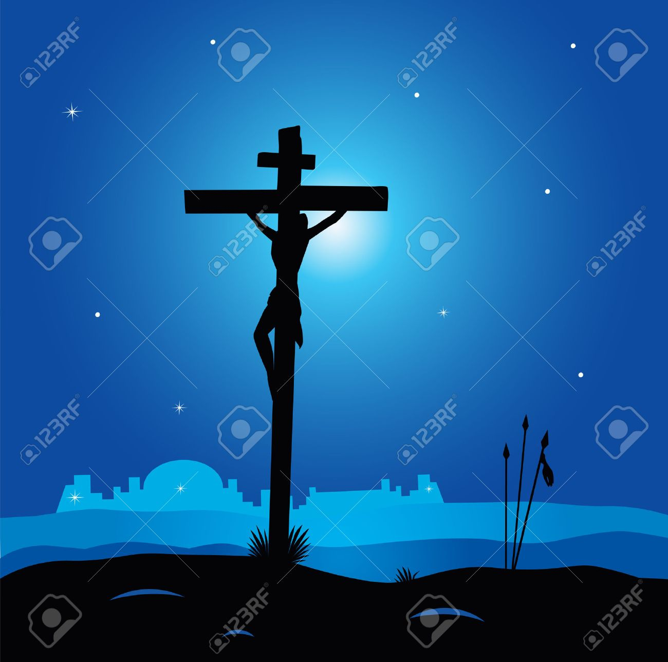 Easter calvary scene with cross in dark night. Crucifixion of Jesus Christ. Vector Illustration. Stock Vector - 6563001
