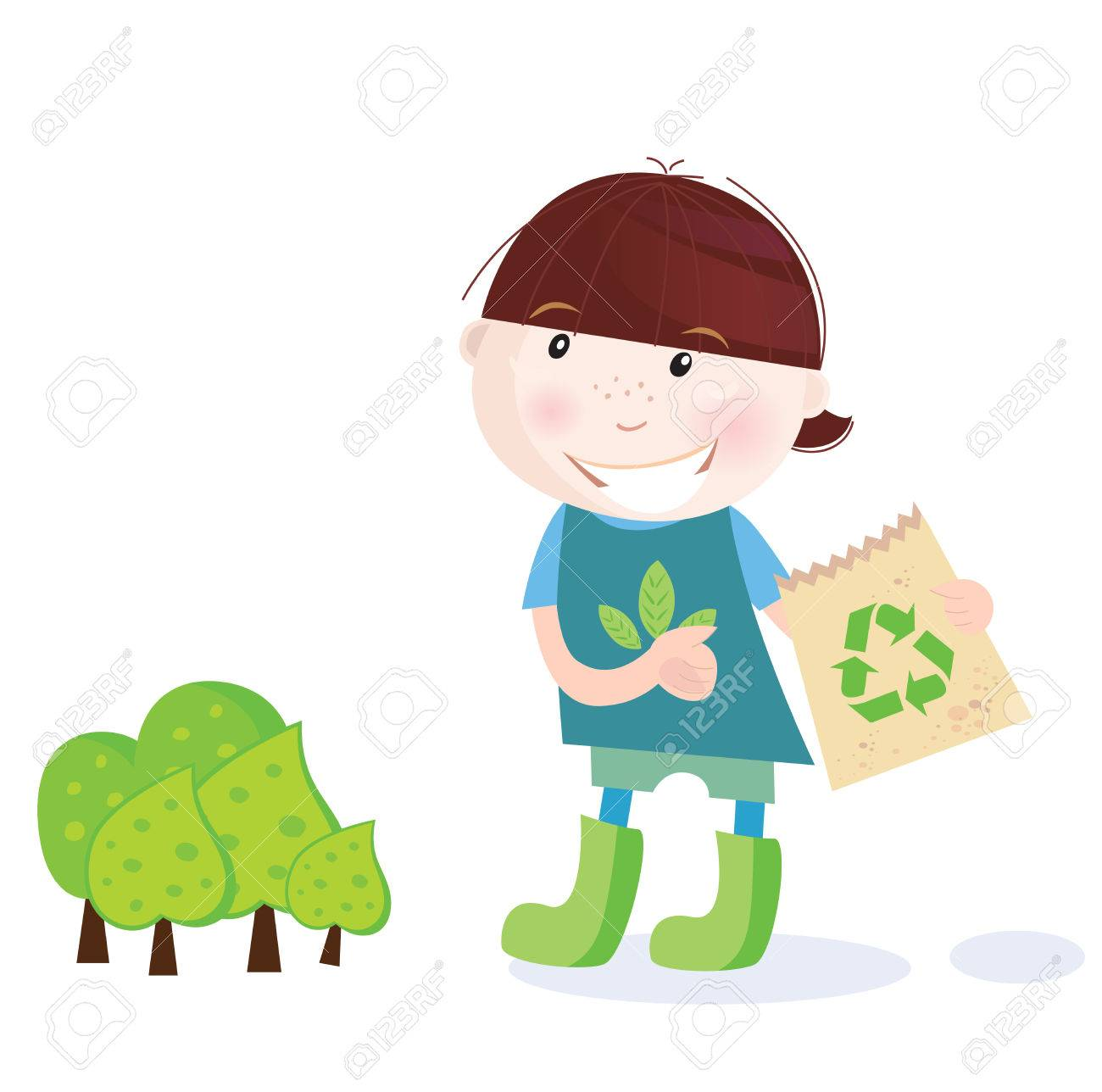 School boy is recycling. Recycling is perfect way to save forest! Vector Illustration of school boy. Stock Vector - 6563003