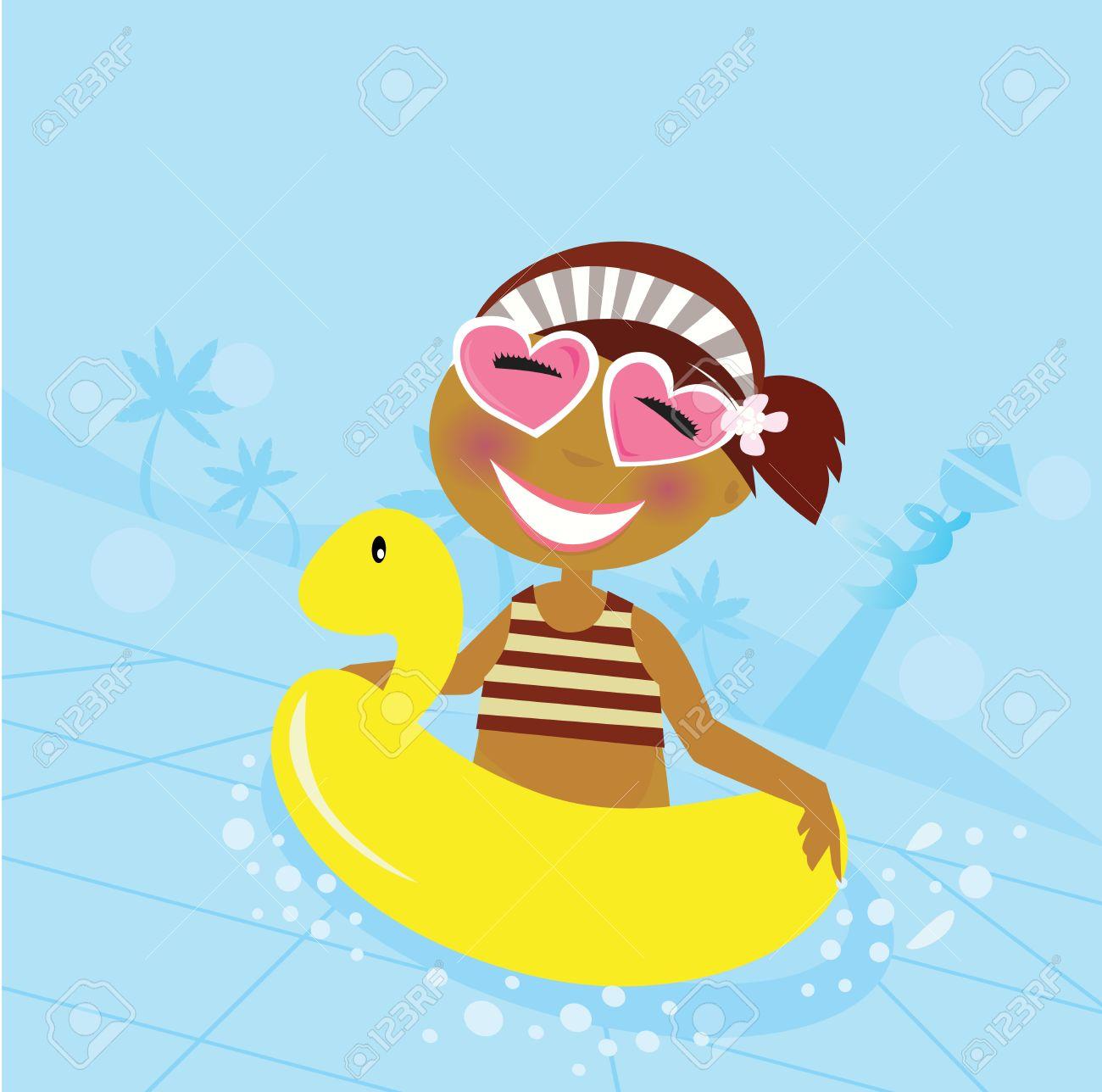 Child in water pool. Cute girl in water pool. Stock Vector - 6810296