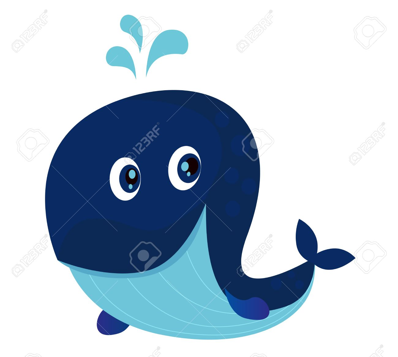 Cute whale in water cartoon isolated illustration stock photography - Cartoon Whale Big Blue Ocean Cartoon Whale