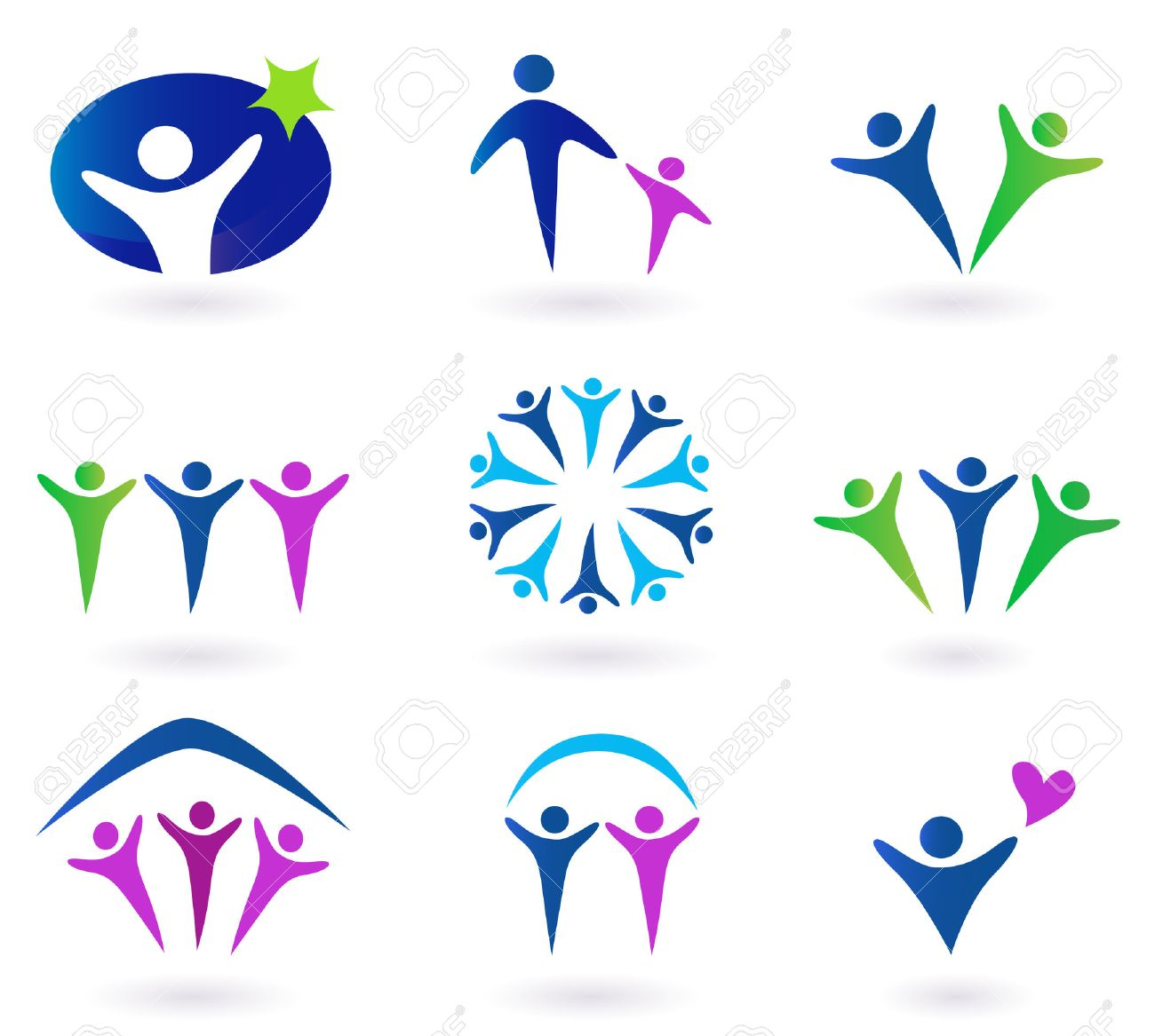 Community, network and social icons - blue, green and pink. Community, network and social icon set. Collection of 9 design elements inspired by people, family, love and togetherness. Perfect use for websites, magazines and brochures. Stock Vector - 6914656