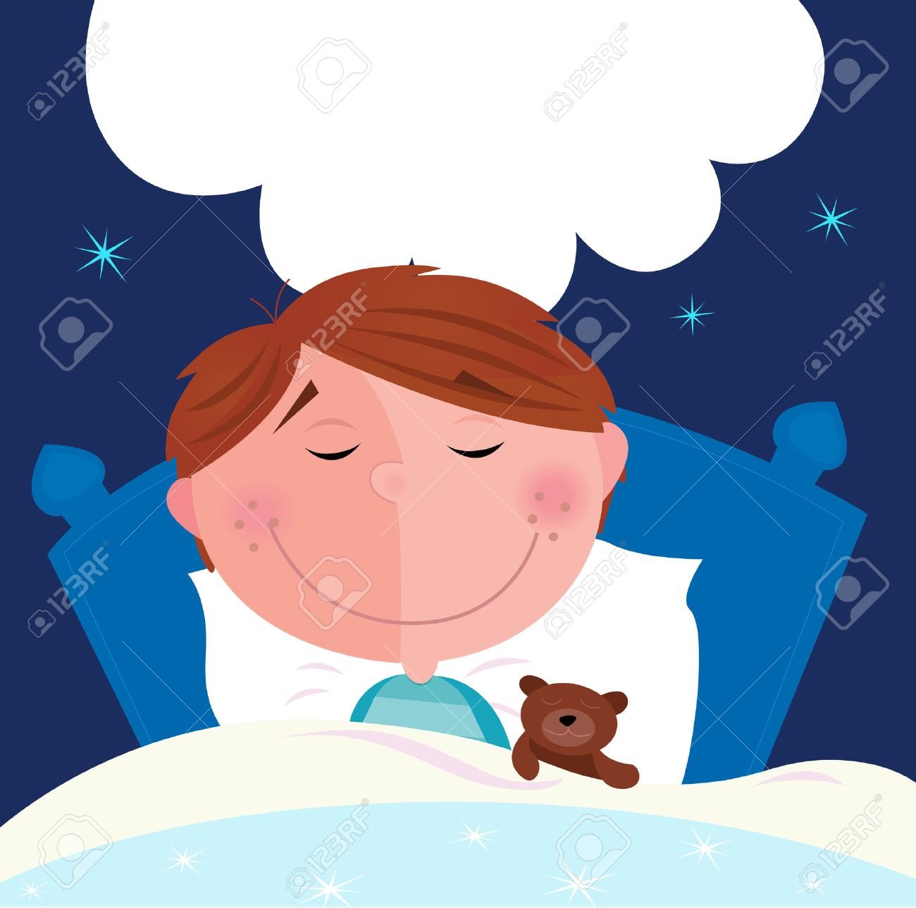 Small boy with his teddy bear sleeping in bed. Cute small boy sleeping and dreaming. Write the dream inside speech bubble! Vector Illustration. Stock Vector - 7002332