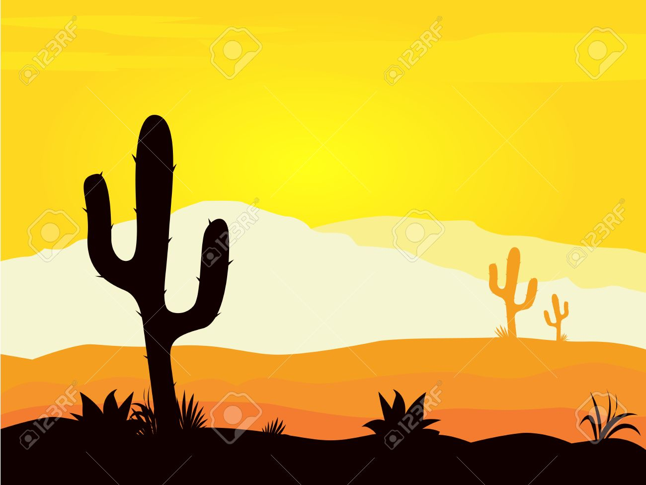 Mexico desert sunset with cactus plants silhouette and mountains. Yellow desert scene with cactus plants, weeds and mountains. Sunset in mexico desert. Stock Vector - 7002331