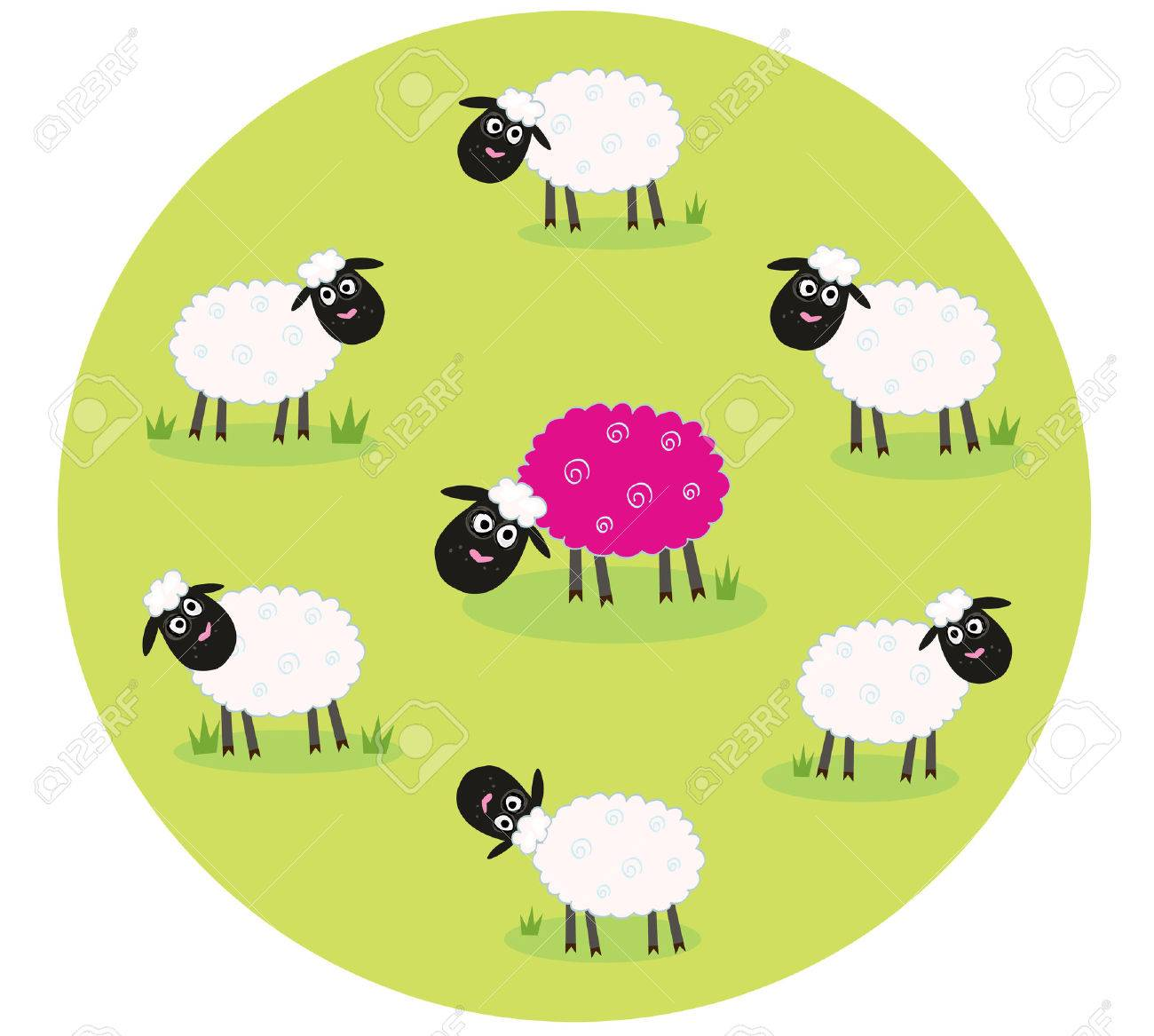 One pink sheep is lonely in the middle of white sheep family. Stylized  illustration of sheep family. The pink sheep is different and standing alone. Is this sheep with new hair color trendsetter Or it's just genetic modification Stock Vector - 7009083