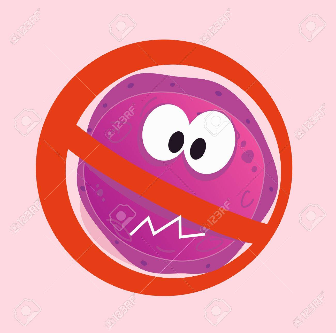 Stop virus - aids virus in red alert sign. Stop virus warning sign.  illustration of aids virus in red alert circle isolated on pink background. Stock Vector - 7026884