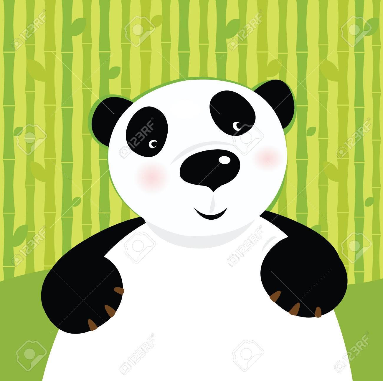 Black and white panda bear on bamboo leaf green background. Stylized  illustration of cute panda bear. Stock Vector - 7069731