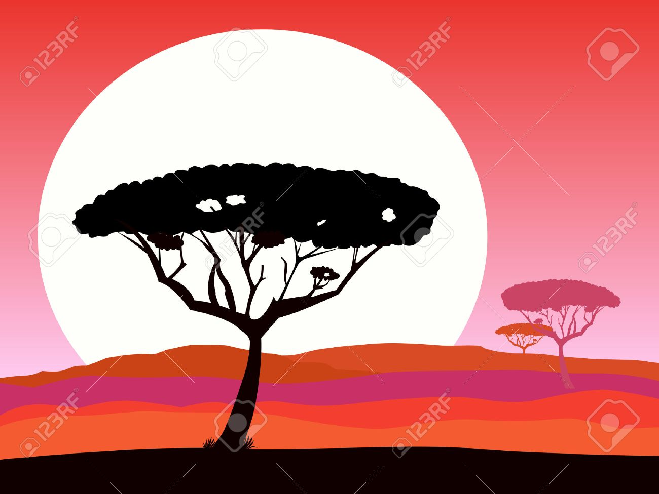 African safari background with red sunset and tree silhouette. Dark red safari background landscape. Vector Illustration. Beautiful sunset scene with acacia trees silhouette, hills and sunset. - 7095430