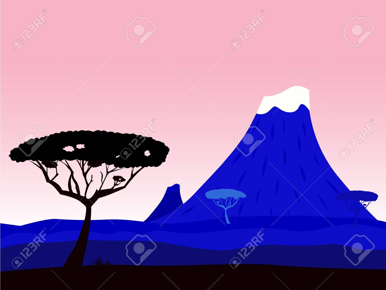 African exotic background with volcano crater and acacia tree silhouette Stock Vector - 7095432