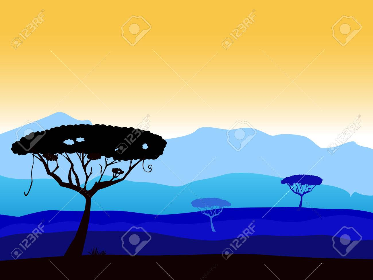 African safari background with tree silhouette. Vector background with dark acacia trees silhouette. High dark blue mountains in background. Stock Vector - 7095431