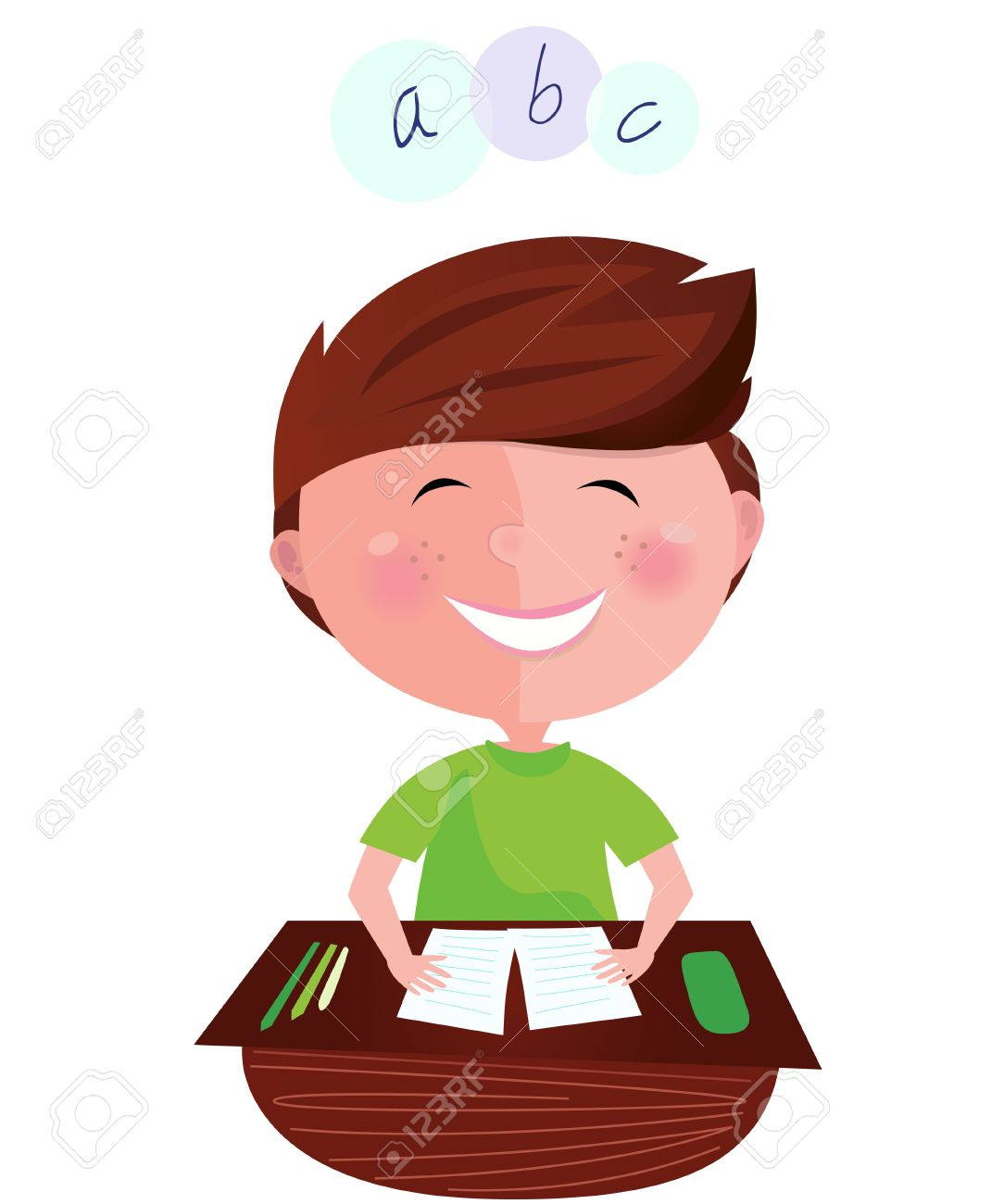 Back to school: Happy smiling learning boy on english lesson. Cartoon  illustration of boy learning the letters. Stock Vector - 7127941