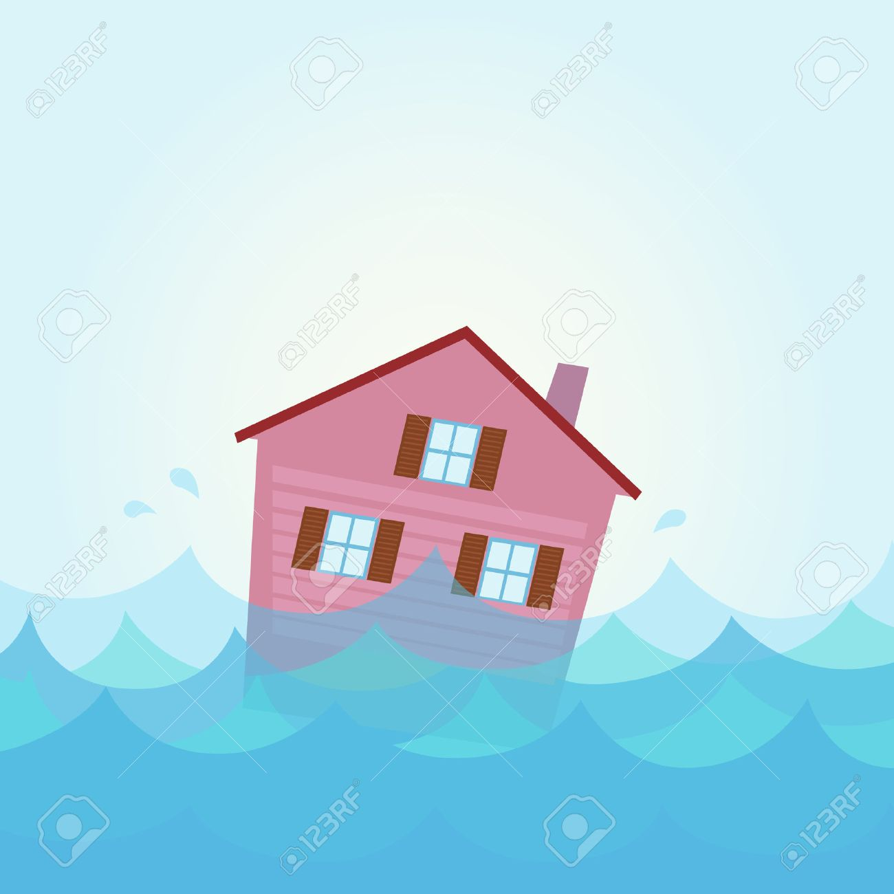 Nature disaster: House flood - home flooding under water. Illustration of house flood.  Illustration of sinking house in the river / lake in cartoon style. Stock Vector - 7127942