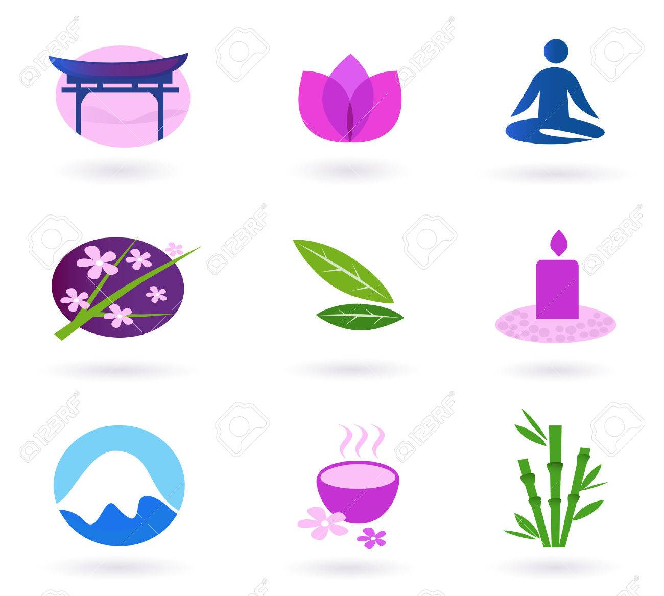 Wellness, relaxation and yoga icon set. Stock Vector - 7317852