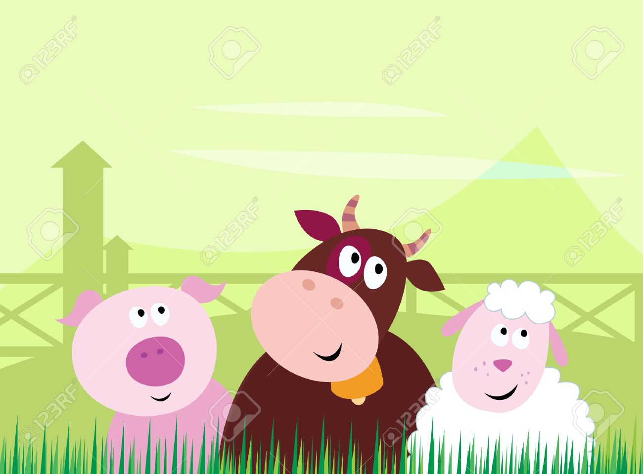 Farm animals - Pig, Cow and Sheep. Stock Vector - 7373744