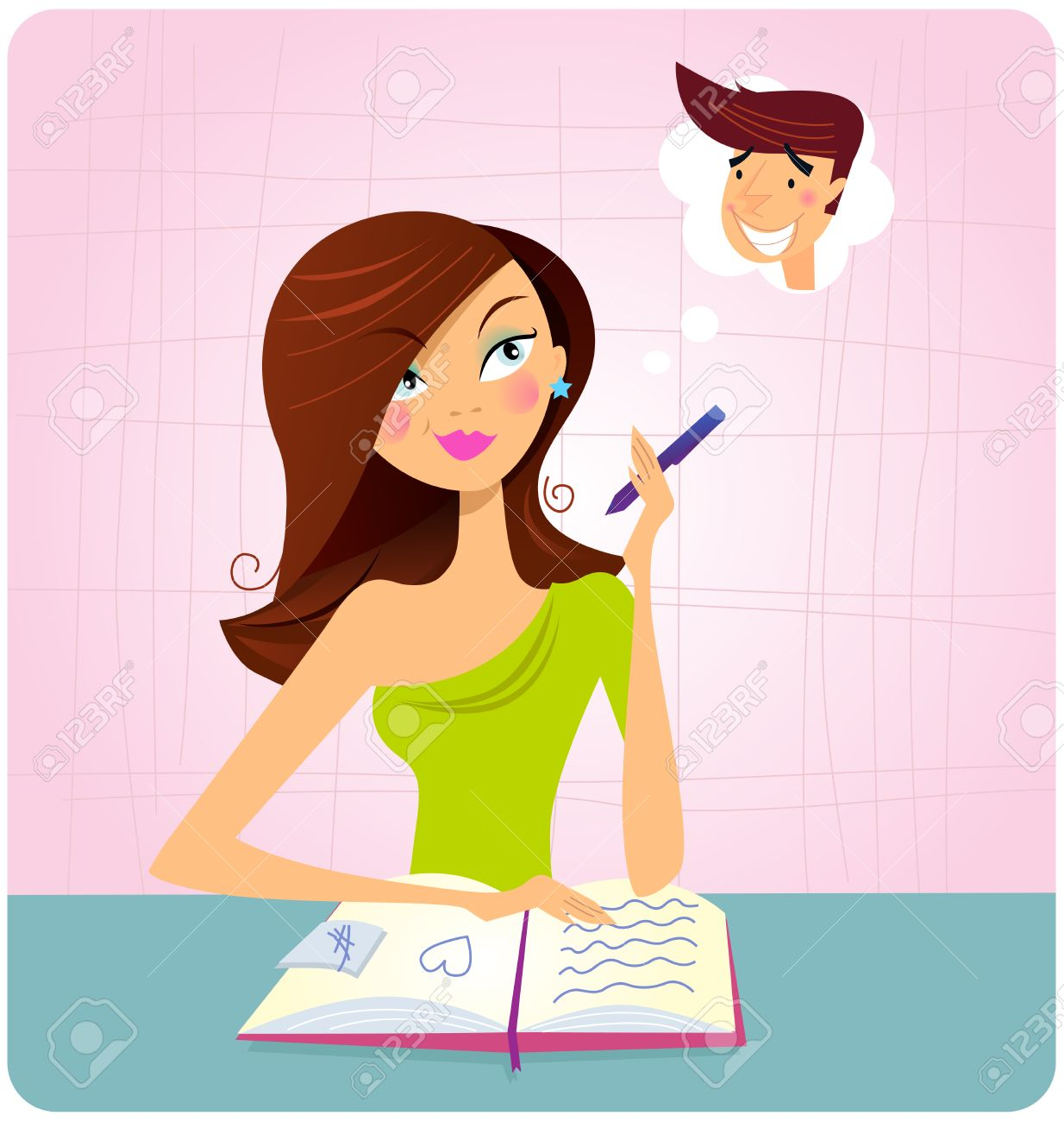 Young student girl is daydreaming while studying. This student girl is is doing homework or reading book and dreaming about this sexy boy. Illustration. Stock Vector - 7699542