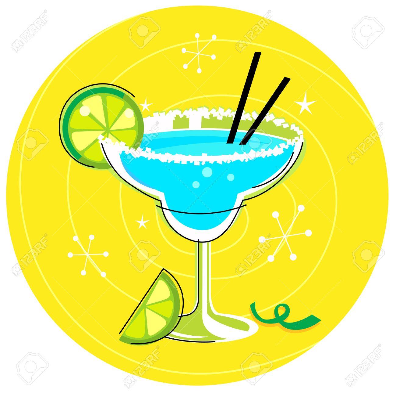 Blue Margarita: Retro cocktail icon on yellow background - 8098074
