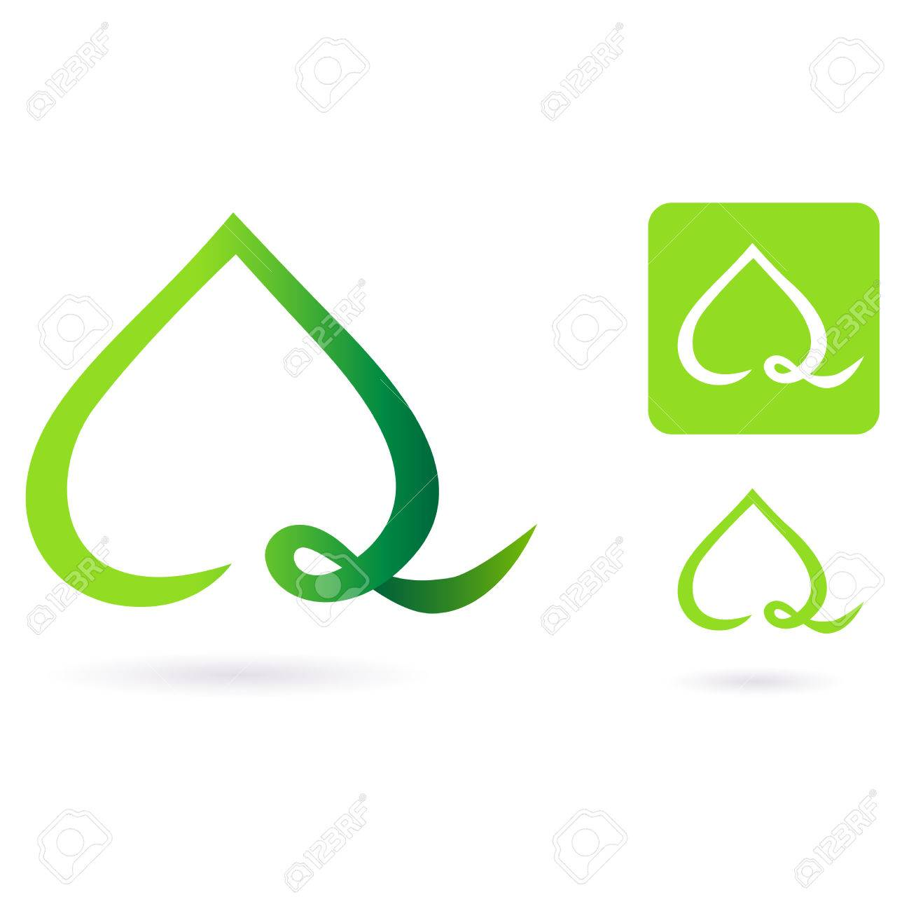 Nature heart leaf icon. Illustration of heart shaped green leaf. Stock Vector - 8098070