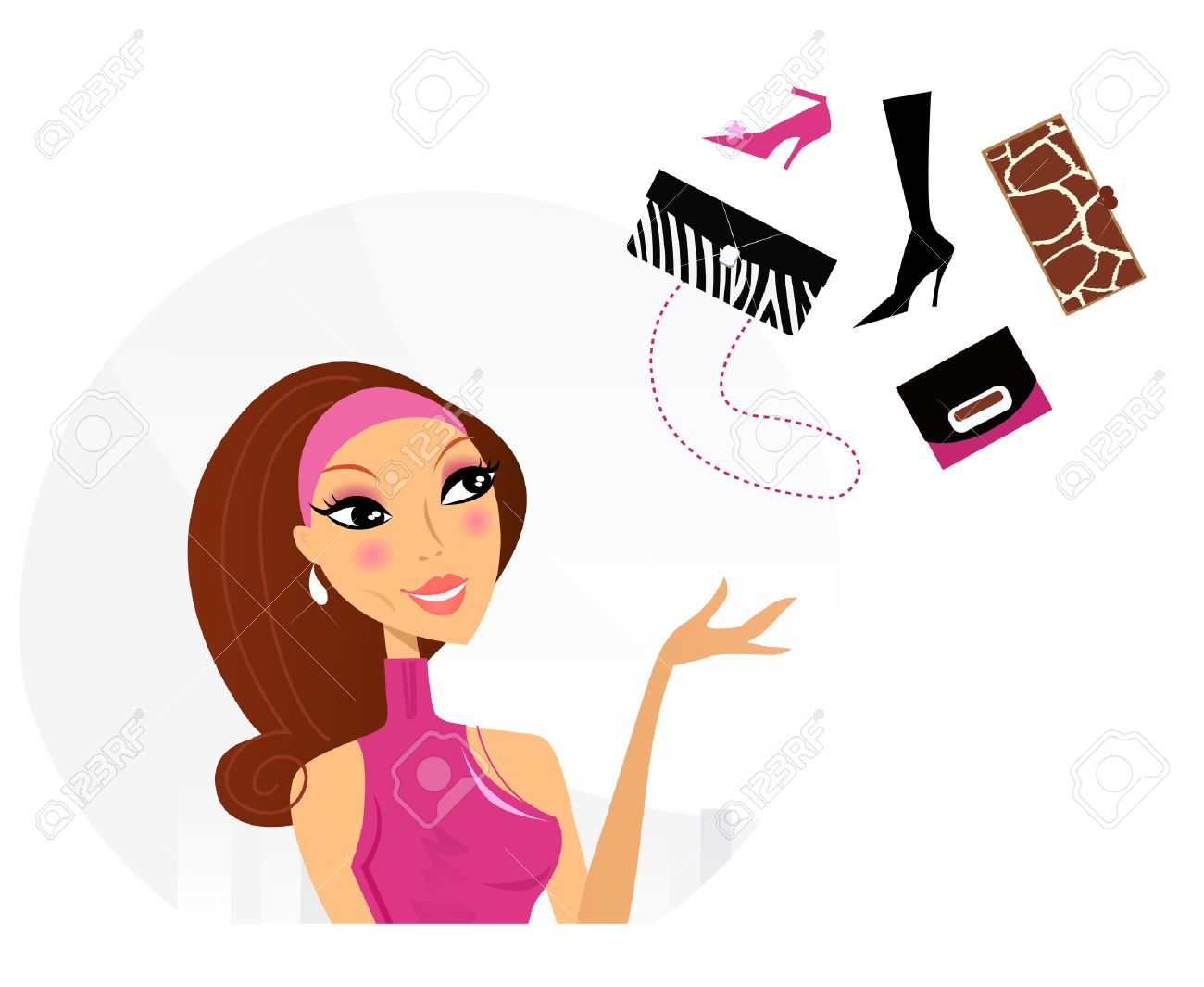Shopping woman making decision what to buy. Vector Illustration. Stock Vector - 8168959