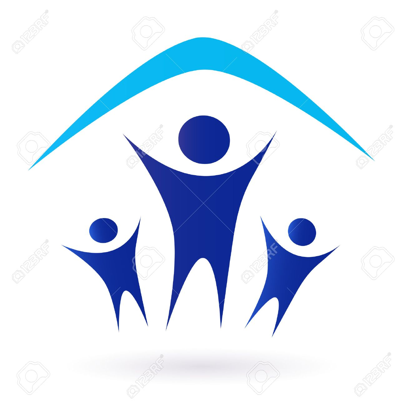 Family And House Roof Icon Isolated On White   Blue Family Under One Roof  Pictogram. Sc 1 St 123RF Stock Photos