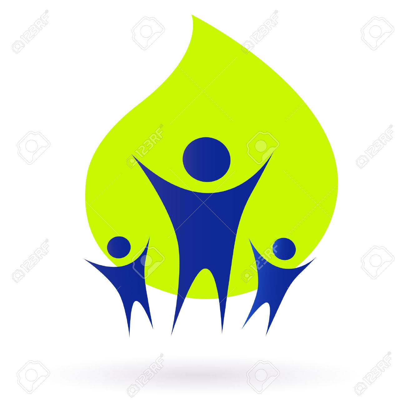 People and nature icon, adult and kids - green and blue. Vector Illustration. Stock Vector - 8168984