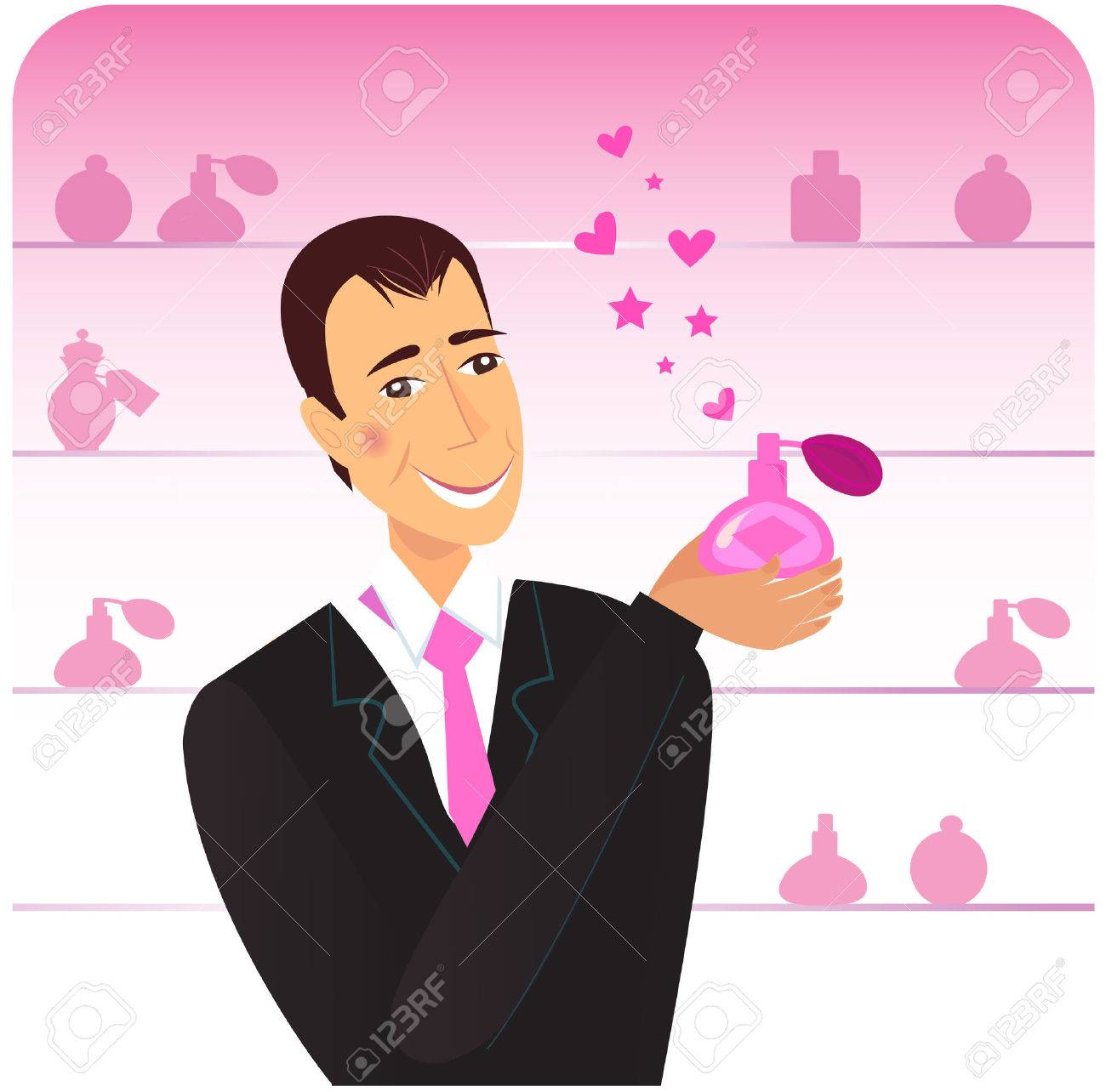 Happy man holding love perfume. Pink flacons in shop background. Vector Illustration. Stock Vector - 8478039