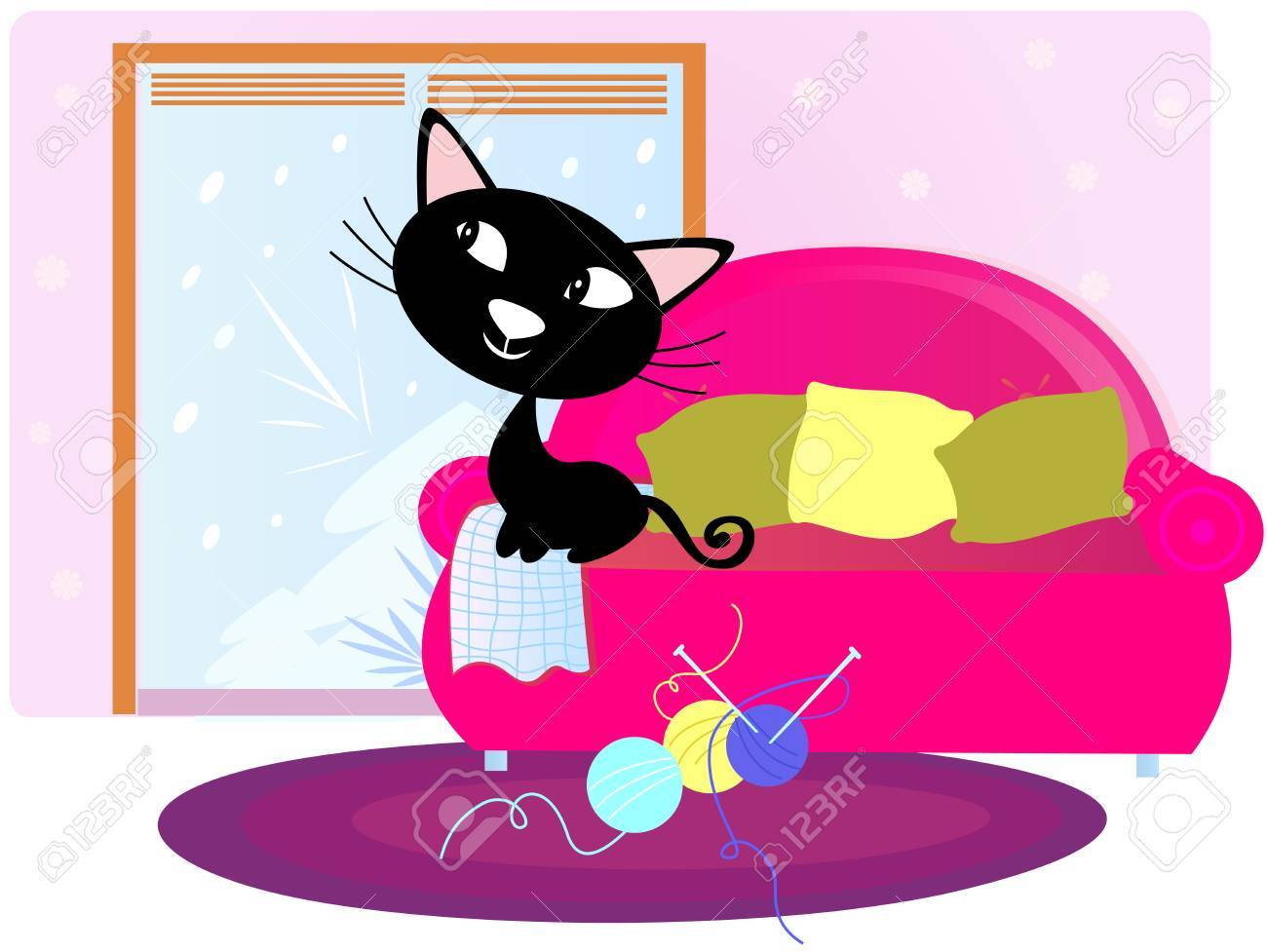 Christmas: Black Cat sitting on sofa and looking through window Stock Vector - 8478042