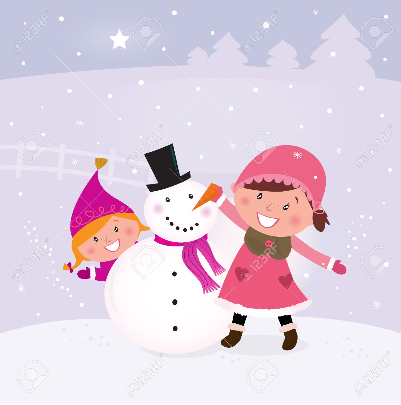 Happy smiling kids in winter costumes making snowman. Vector Illustration. Stock Vector - 8478041
