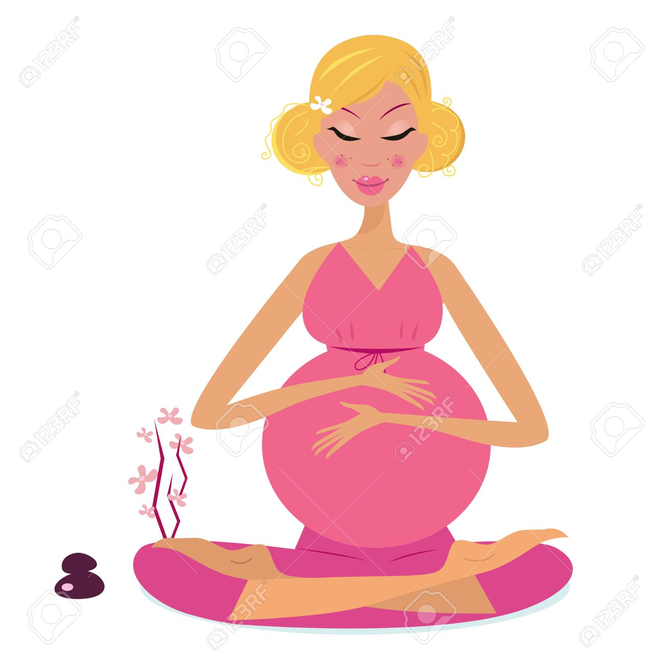 Pregnant woman doing yoga - isolated on white background. Stock Vector - 8713105