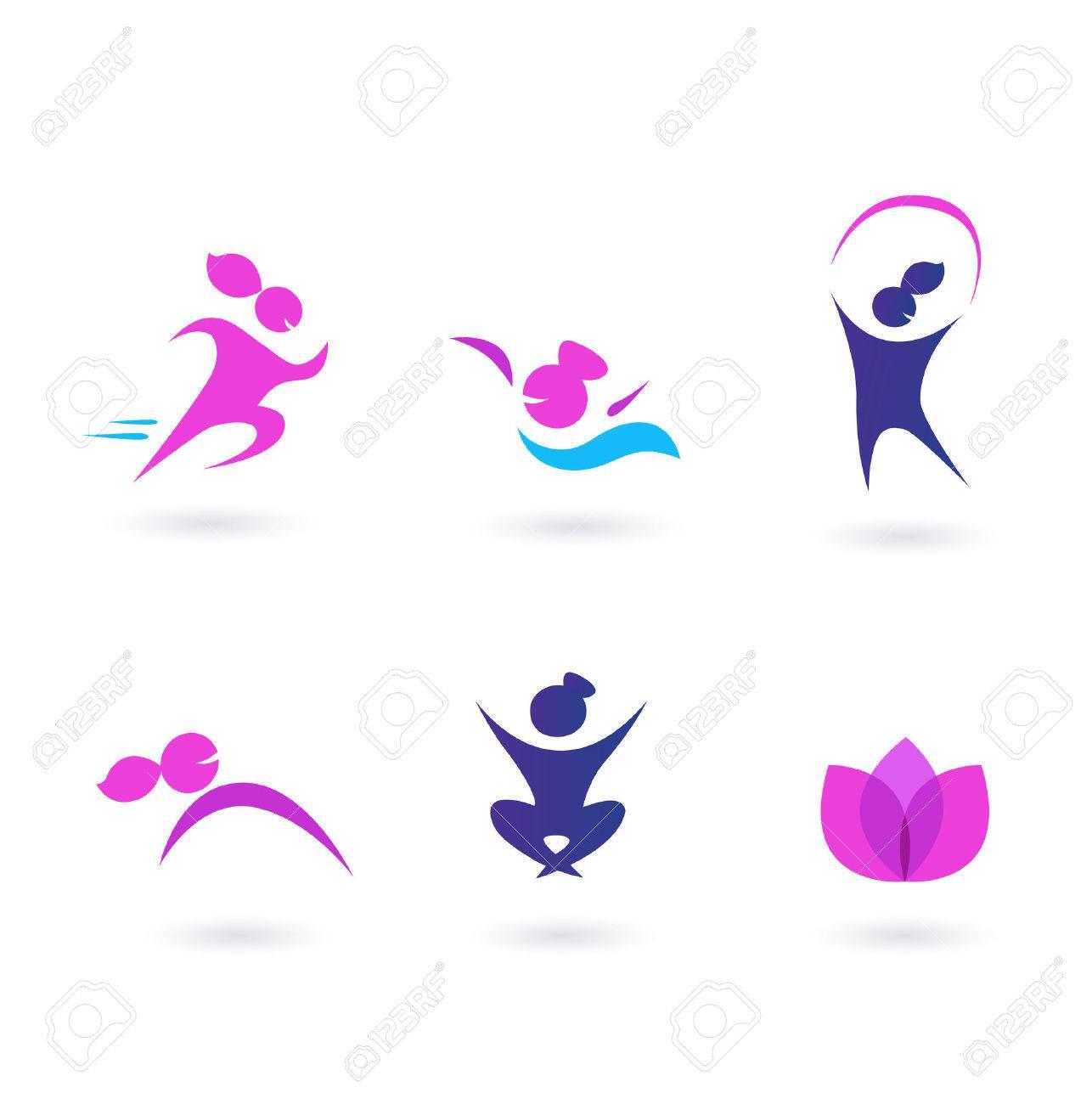 Wellness icon  Frauen, Sport Und Wellness Icons - Pink Und Blau Lizenzfrei ...
