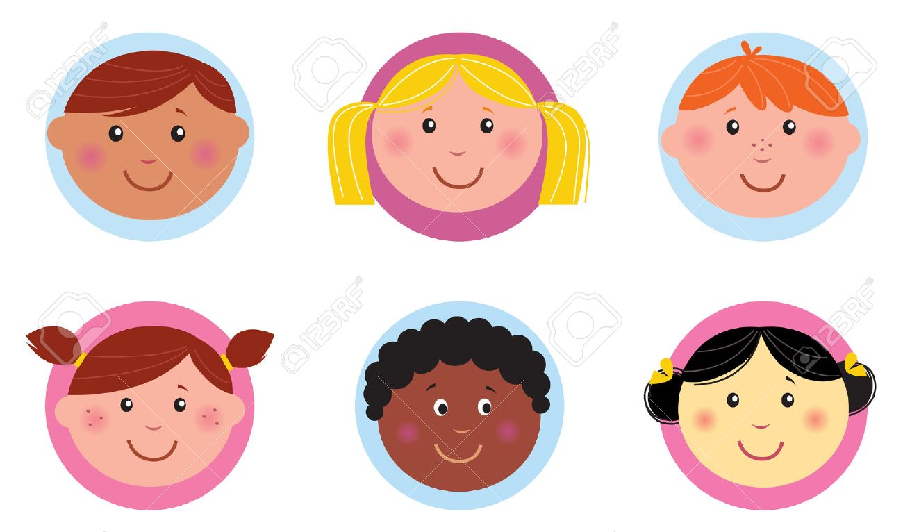Cute diversity kids icons or buttons - pink and blue Stock Vector - 8821585