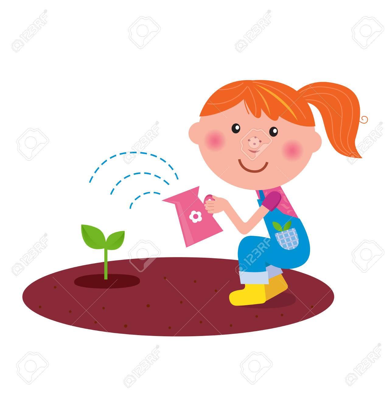 Small gardener girl watering plant in the garden Stock Vector - 8821582