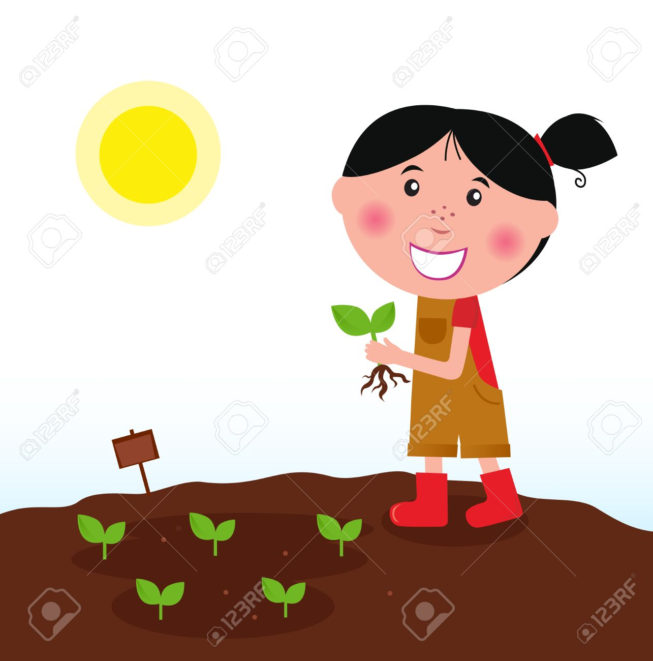 Gardening girl in red boots with green plant Stock Vector - 8909760
