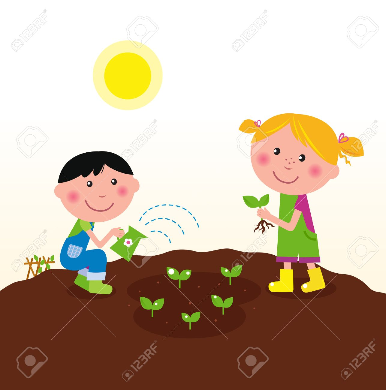 Two happy kids watering and planting plants in the garden. - 8909763