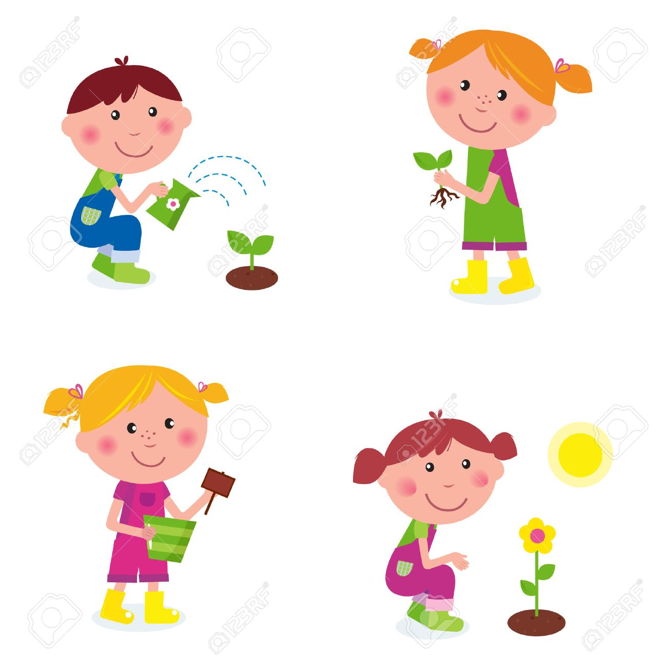 gardening children collection stock vector 8909765