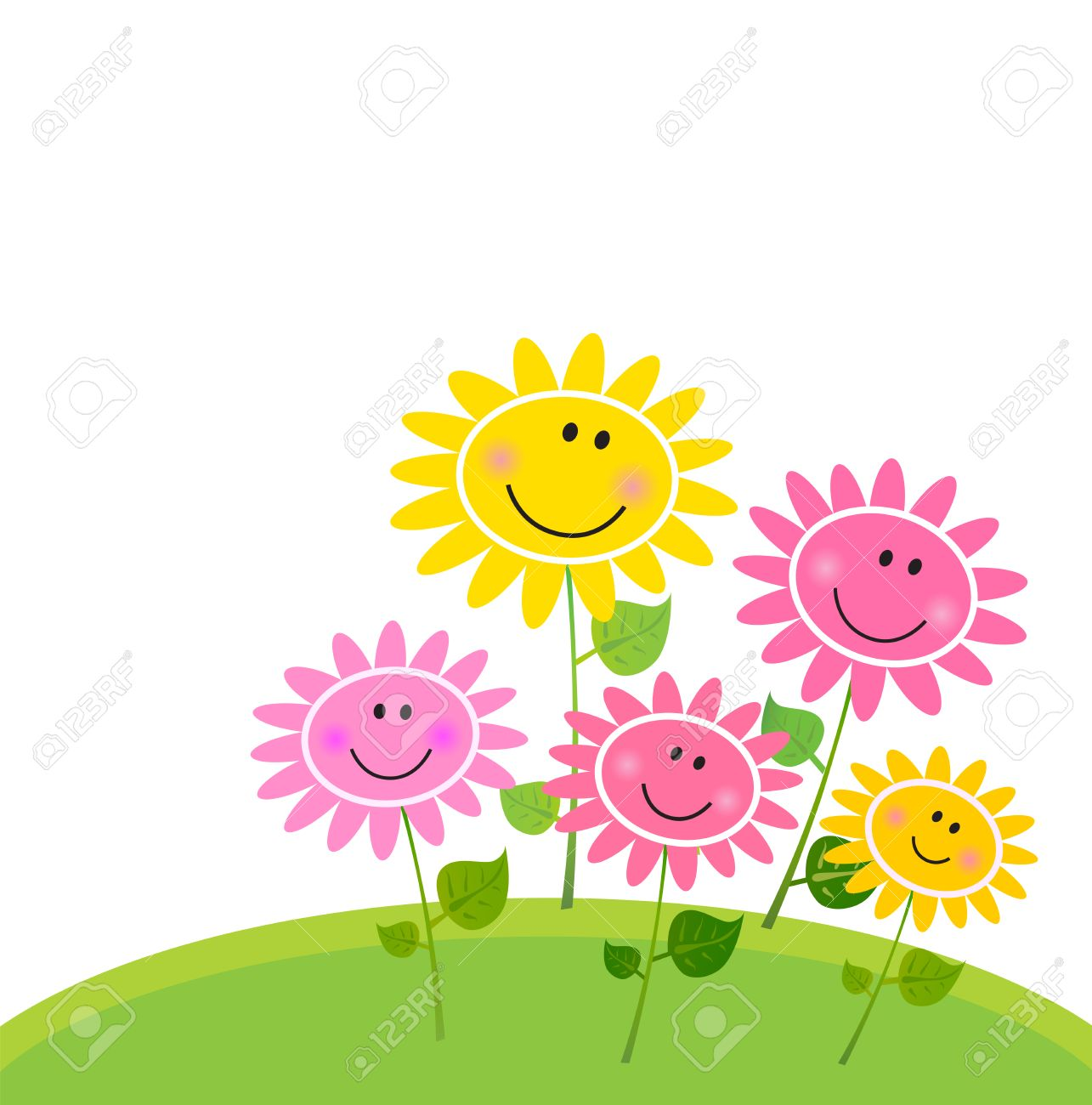 Flower garden cartoon - Flower Garden Cartoon Happy Spring Flower Garden Vector Illustration Stock Vector 8986007