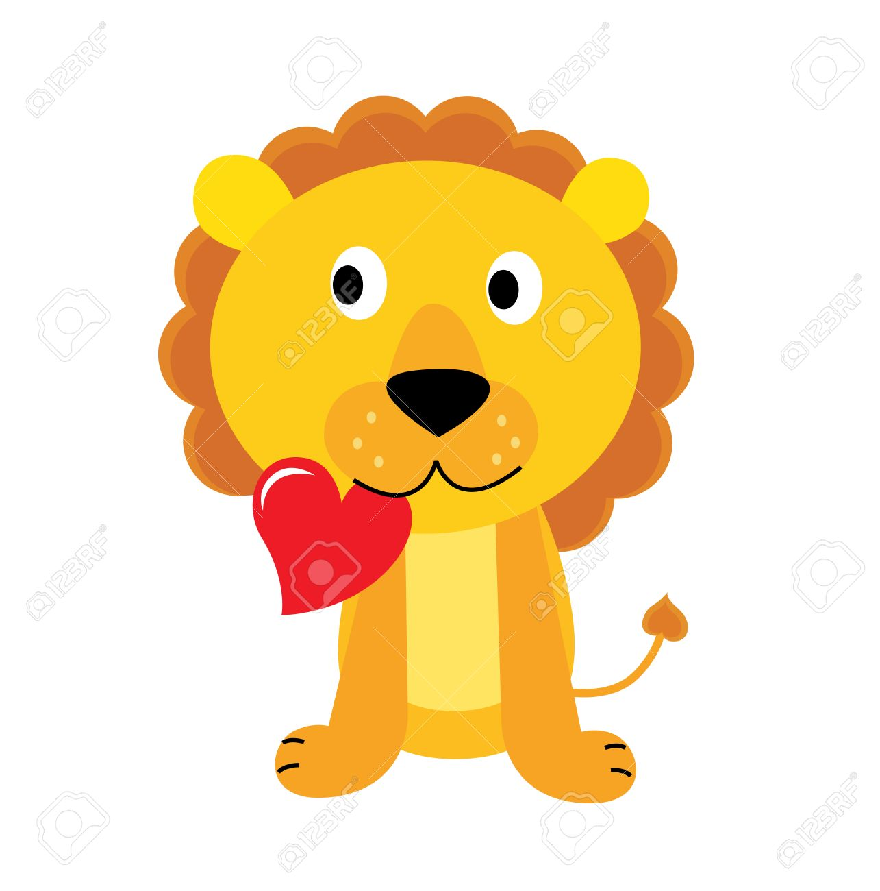 Cute little lion with red heart isolated on white. Vector Illustration. Stock Vector - 8985999