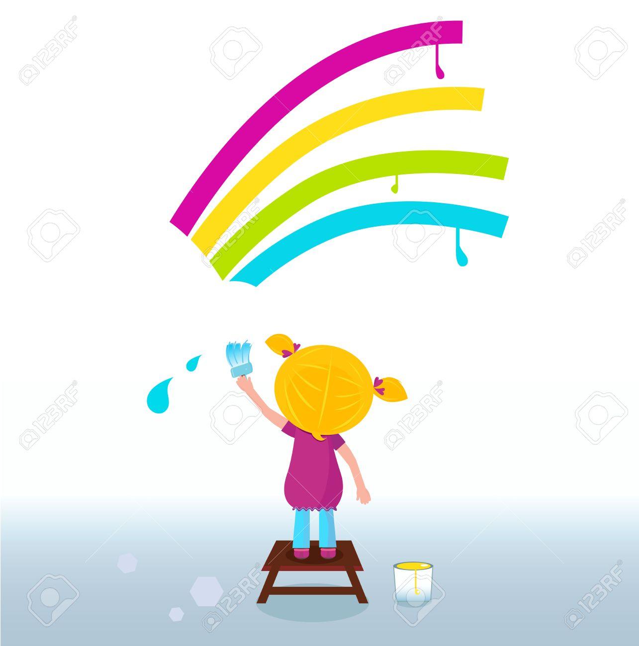 Little artist - cute child painting Rainbow on the Wall. Vector Stock Vector - 9063577