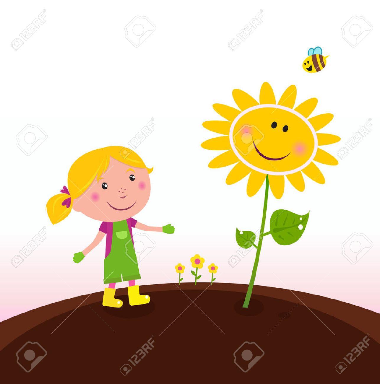 Spring gardening : Gardener child with sunflower in the garden Stock Vector - 9063581