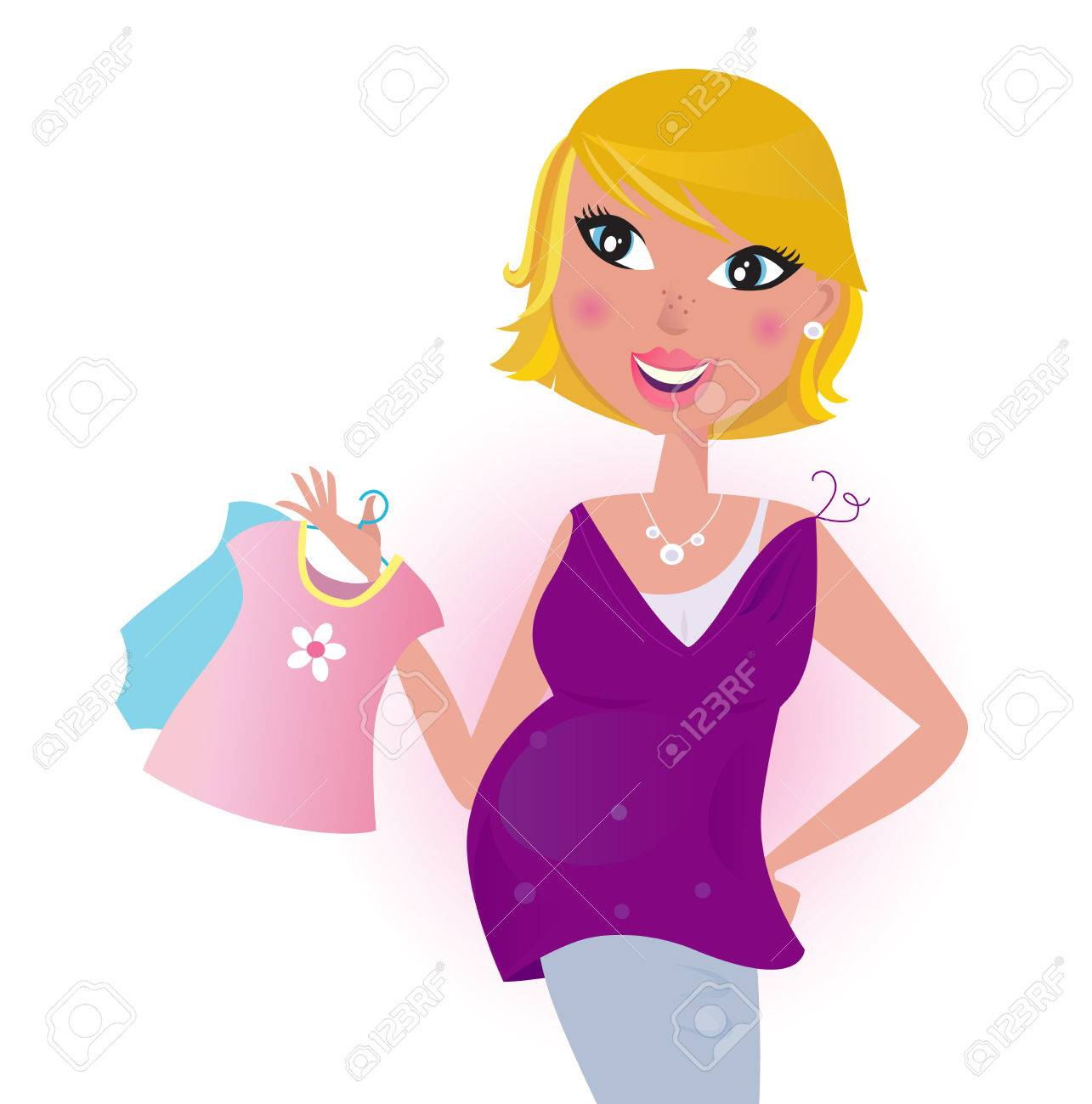 Cute blond hair Mom shopping dress for her new baby - Vector Stock Vector - 9063580