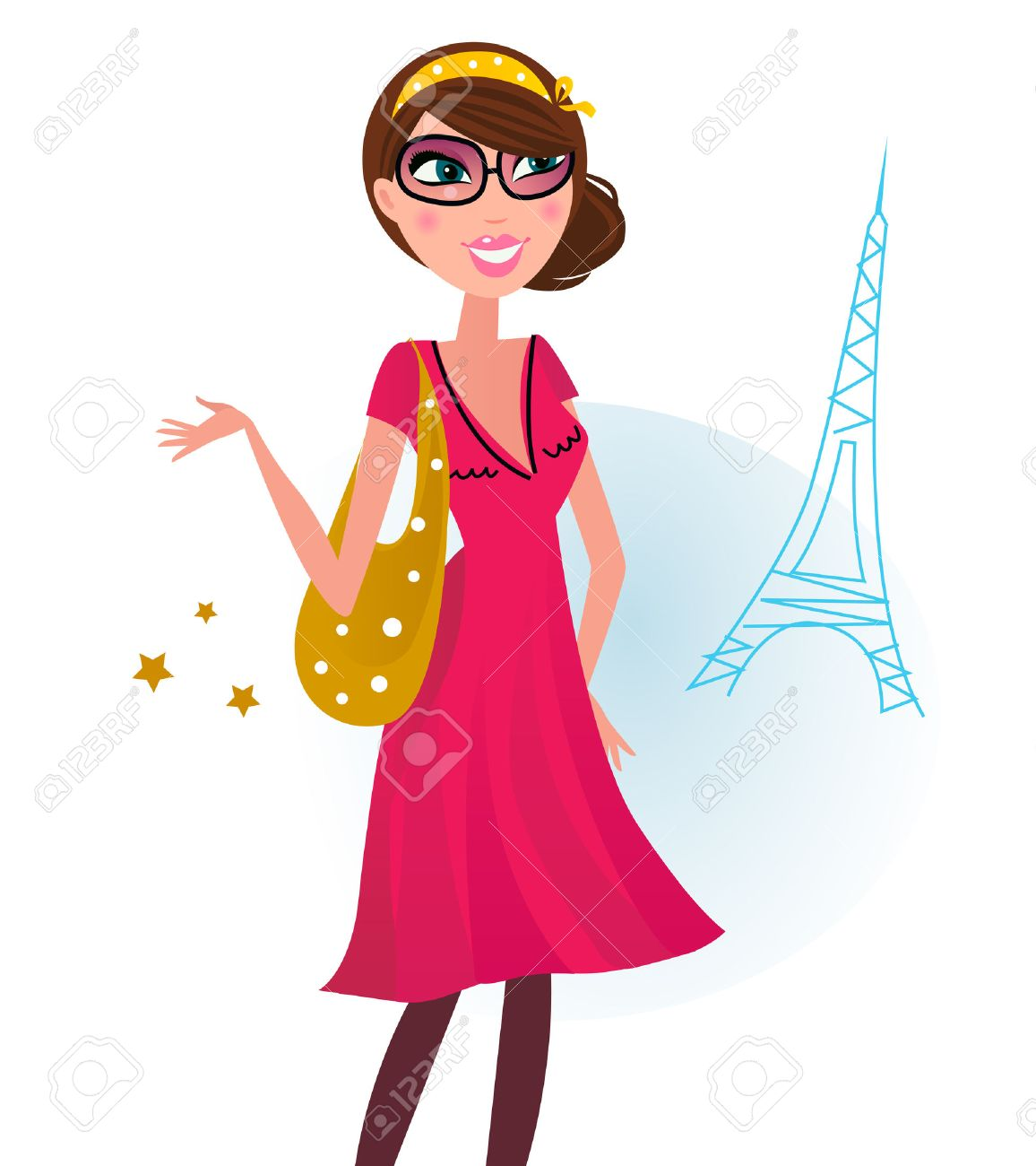 Woman in romance red dress with shopping bag in Paris. Illustration. Stock Vector - 9138192
