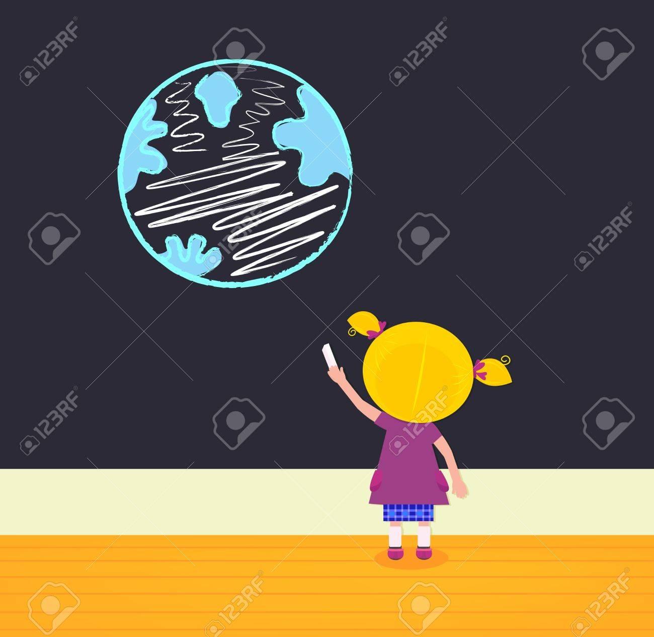 Cute little painter girl. Vector Illustration. Stock Vector - 9444324