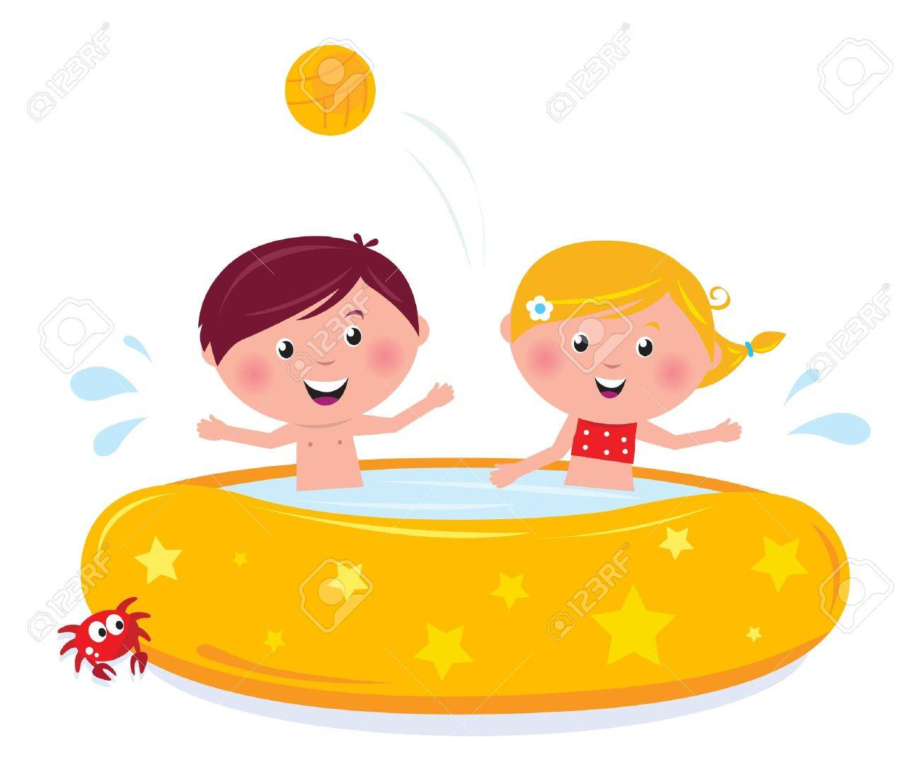 Happy Smiling Kids In Swimming Pool, Summer Illustration Cartoon ...