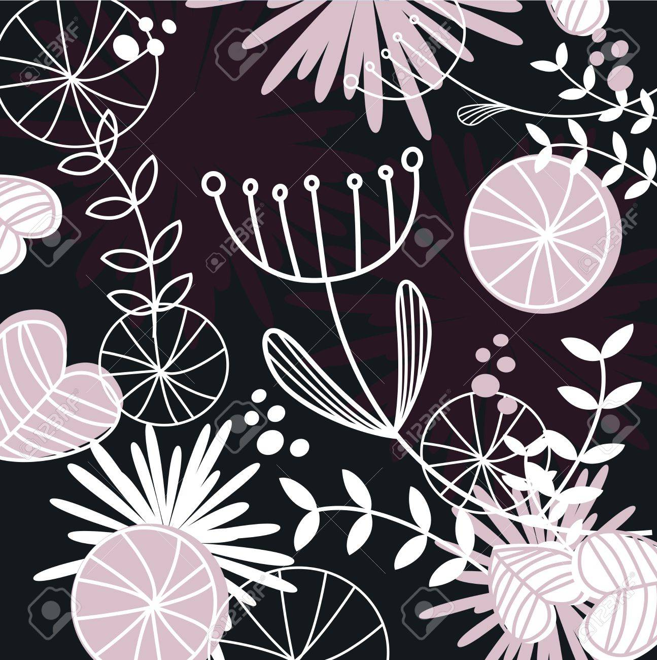 Retro background with vintage flowers - vector Illustration. Stock Vector - 9474161