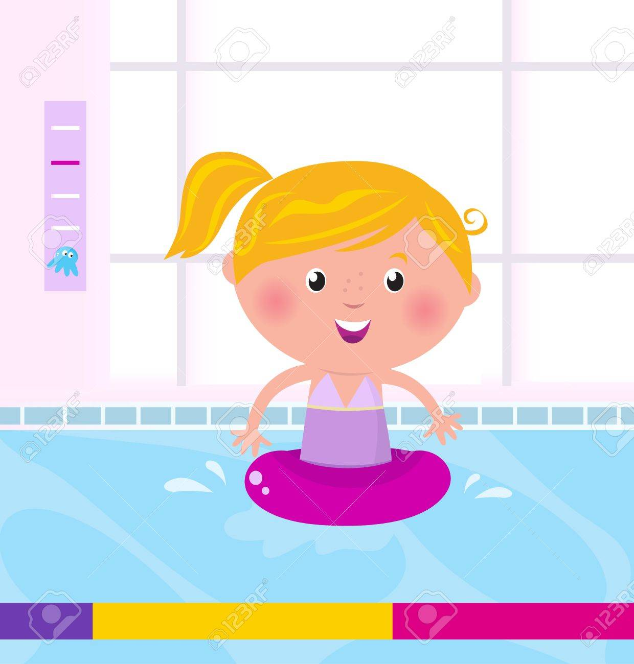 Cute child in swimming pool. Vector Illustration. Stock Vector - 9474172
