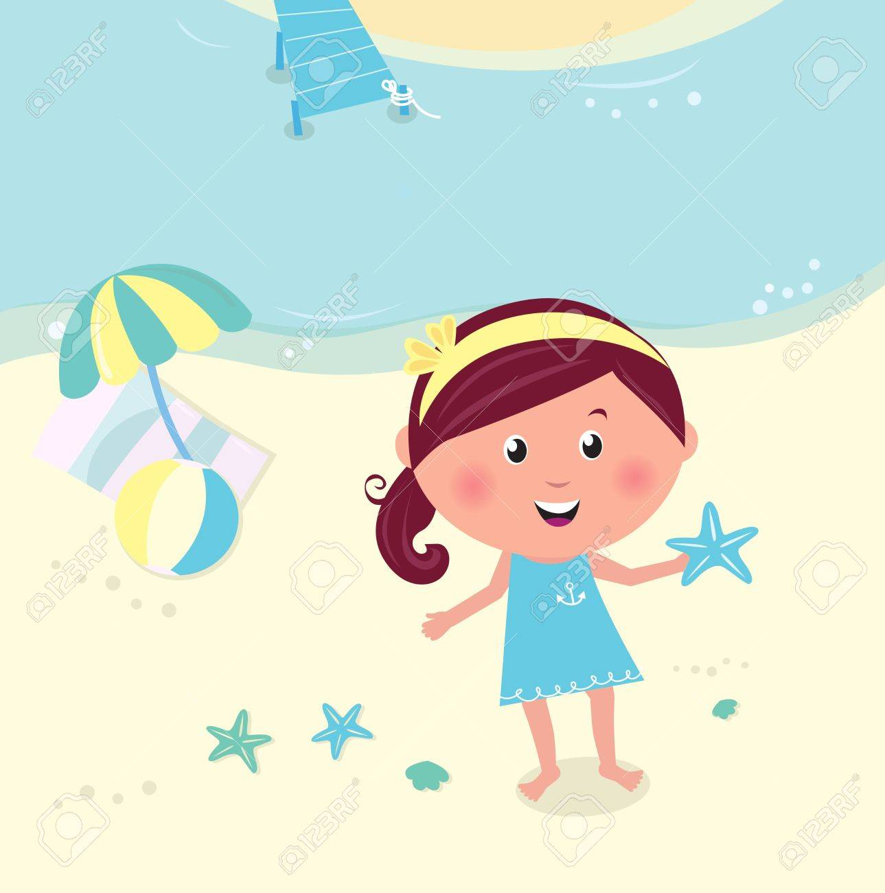 Cute happy girl on the beach seaside. Vector Illustration. Stock Vector - 9550938