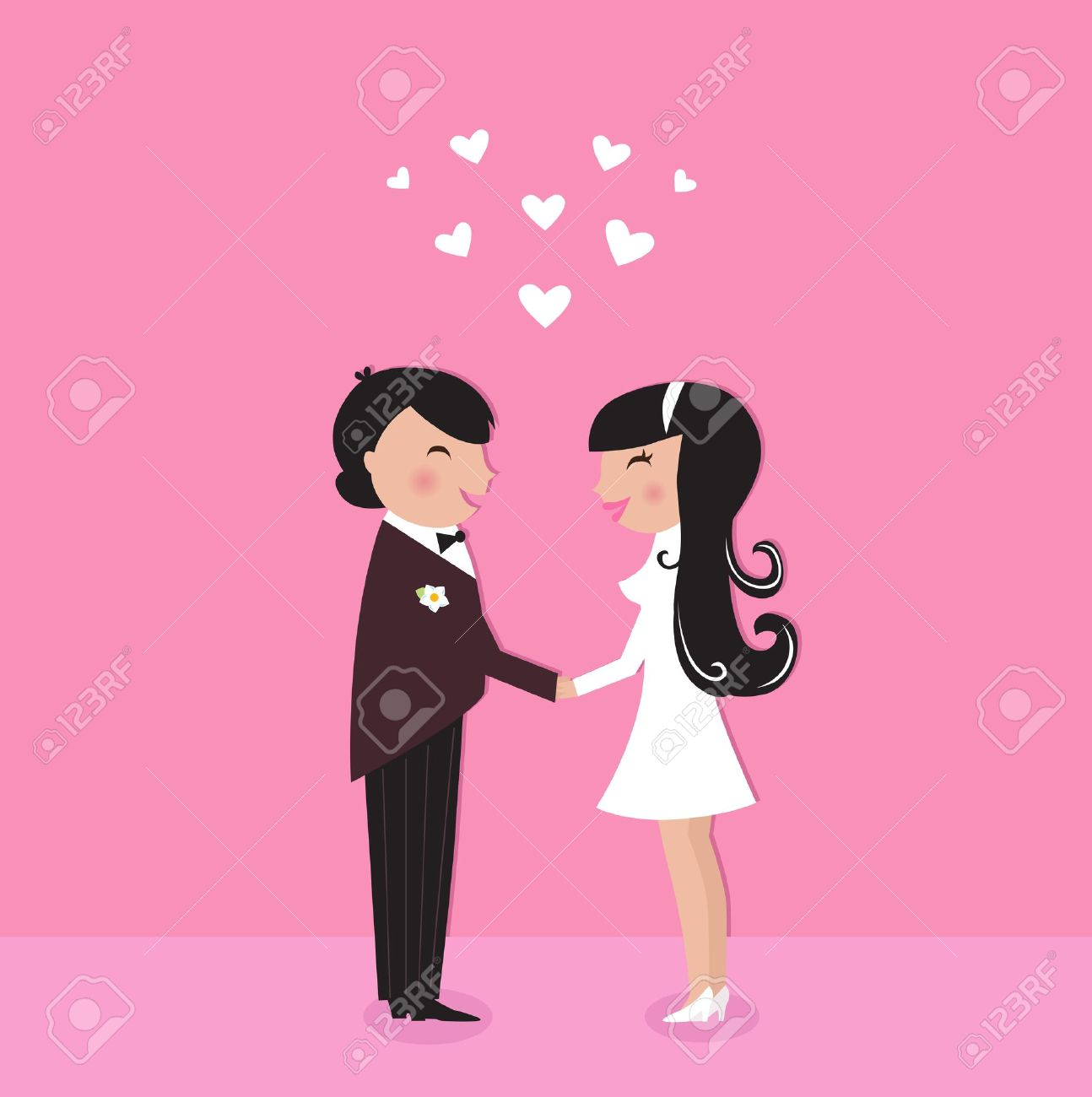 Wedding couple - bride and groom, isolated on pink. Vector Illustration. Stock Vector - 9598956