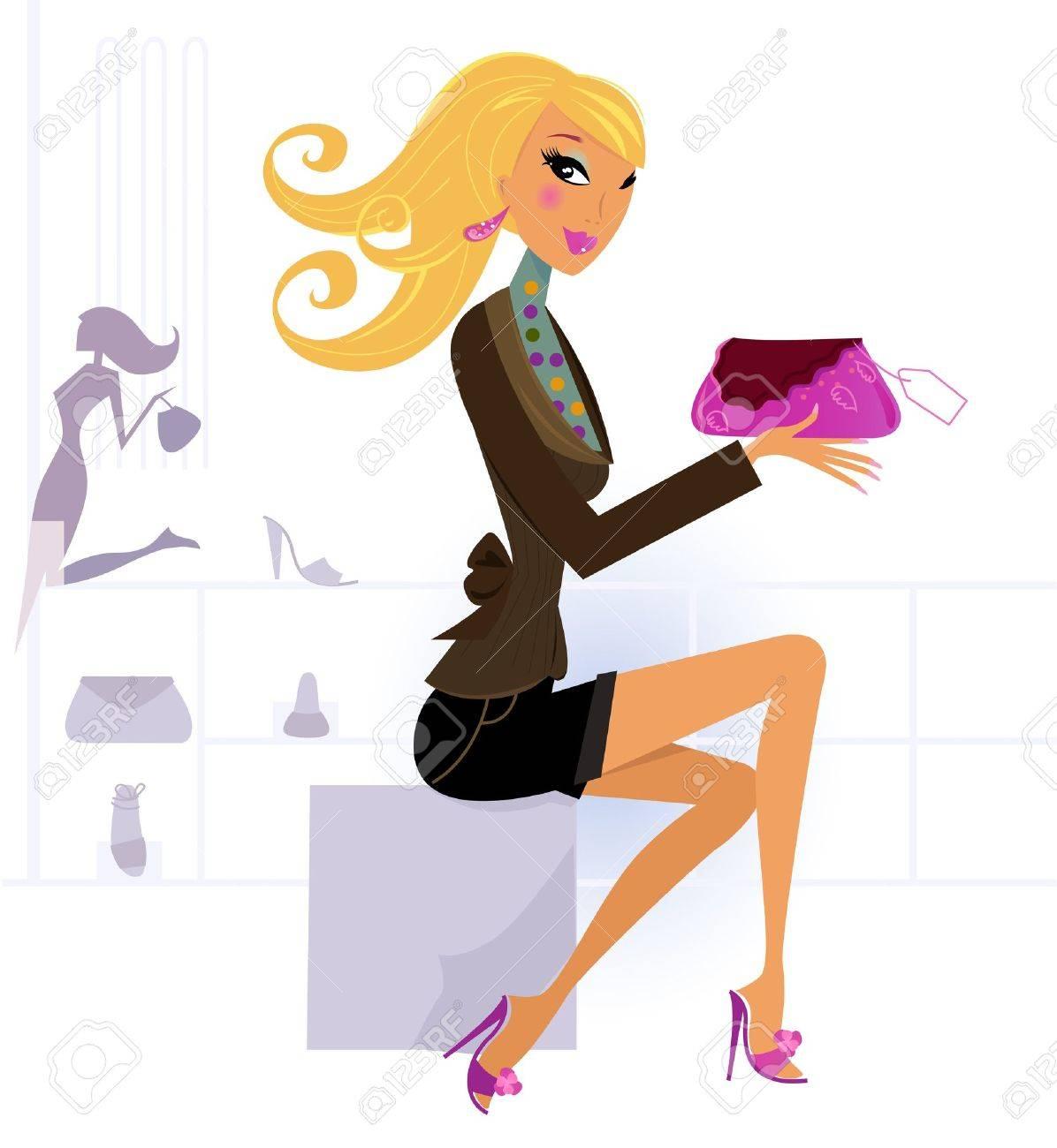 Cute blond girl in shopping center / mall. Vector Illustration. Stock Vector - 9598960